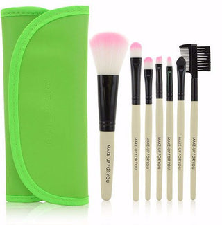 Green 7pcs Makeup Brush Kit - Rave Rebel