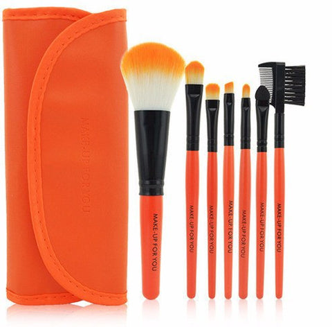 Orange 7pcs Makeup Brush Kit