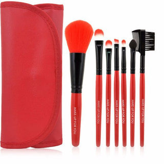 Red 7pcs Makeup Brush Kit - Rave Rebel