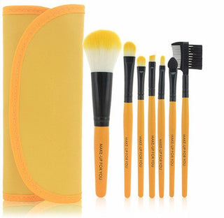 Yellow 7pcs Makeup Brush Kit - Rave Rebel