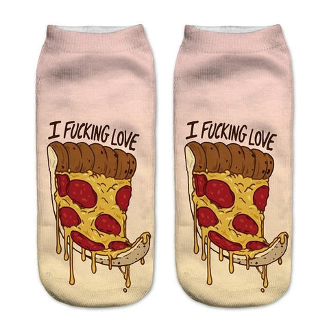 I Love Pizza Low Cut Ankle Socks - Rave Rebel