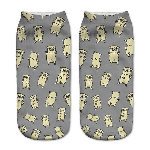 Pug Dance Party Low Cut Ankle Socks - Rave Rebel