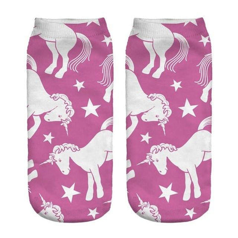 Pink Unicorn Low Cut Ankle Socks - Rave Rebel