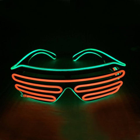NEON Orange with Green Rim LED Light Up Glasses - Rave Rebel