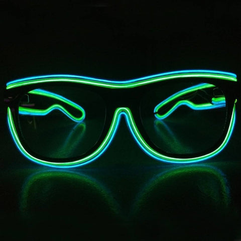 NEON Green with Blue Rim LED Light UP Glasses - Rave Rebel