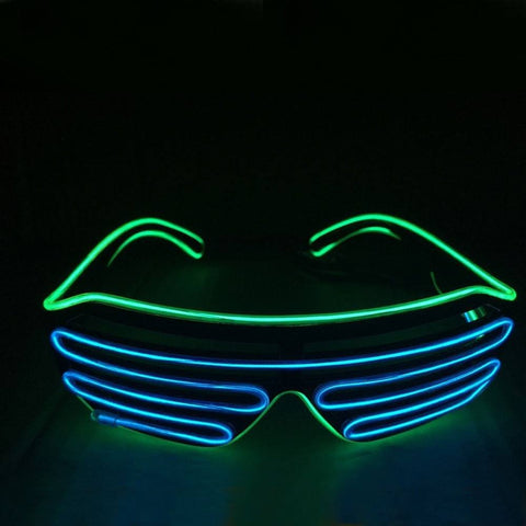 NEON Blue & Green Shutter LED Light Up Glasses - Rave Rebel