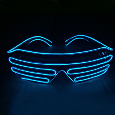 NEON Blue Shutter LED Light Up Glasses - Rave Rebel