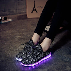 Grey Carbon Print LED Light Up Shoes - Rave Rebel