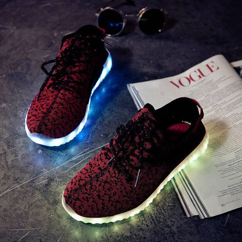 RED Carbon Print LED Light Up Shoes - Rave Rebel