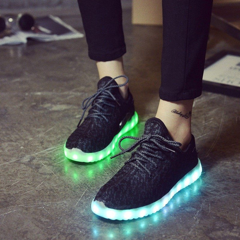 Black Carbon Print LED Light Up Shoes - Rave Rebel