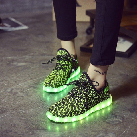 Green Carbon Print LED Light Up Shoes - Rave Rebel