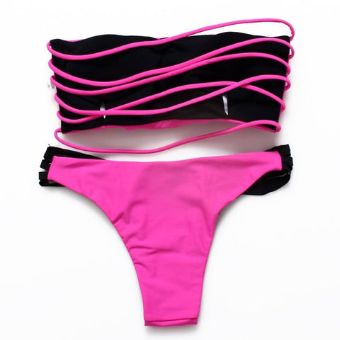 Sexy Pink and Black Cut Out Top + Bottoms - Rave Rebel