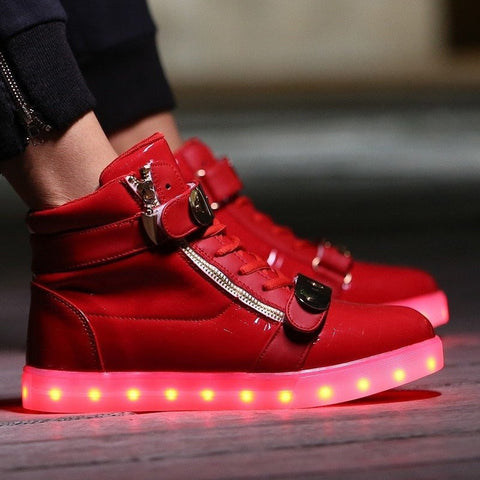 Red LED High Top Shoe - Rave Rebel