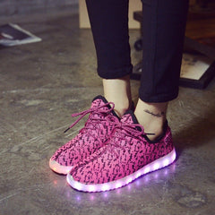 Pink Carbon Print LED Light Up Shoes