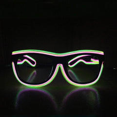 NEON Pink with Green Rim LED Light Up Glasses - Rave Rebel