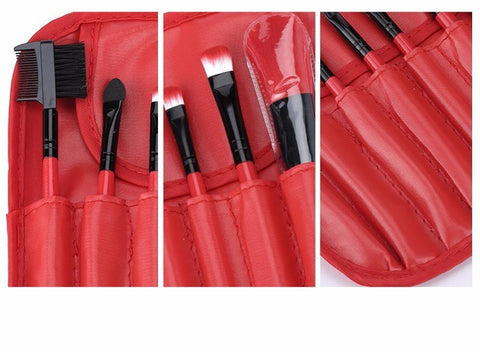 Red 7pcs Makeup Brush Kit