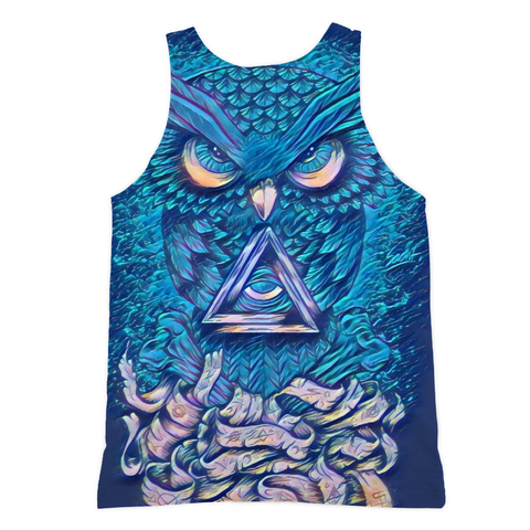 Angry Cosmic Owl Long Tank - Rave Rebel