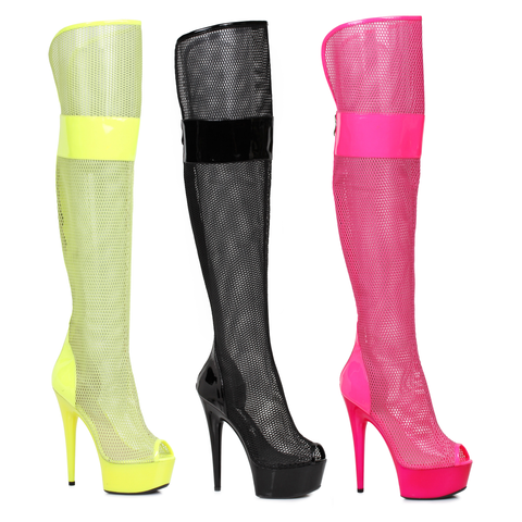 "6"" Peep Toe Thigh High Mesh  Boot - Rave Rebel"