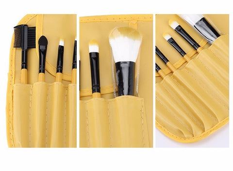 Yellow 7pcs Makeup Brush Kit