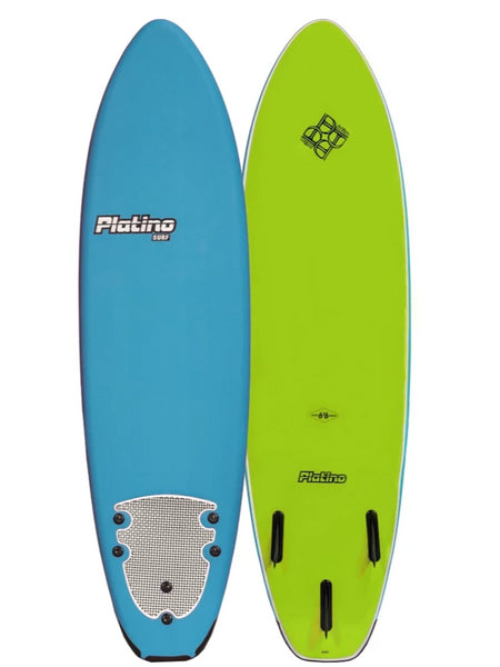 Platino 6ft 6 inch Soft Top Surfboard Azure Blue Lime