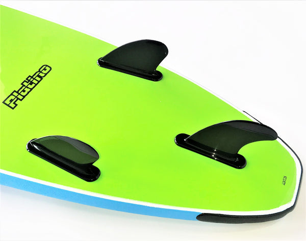 Platino 6ft 6 inch Soft Top Surfboard Blu Caracao Electric Lemon
