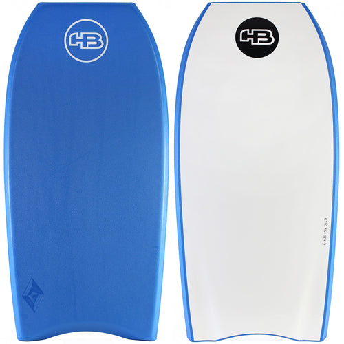 "HB Bodyboards 44"" Tech Epic PE Core Blue White - NEW Double Stringer Crescent Tail Blue Yellow"
