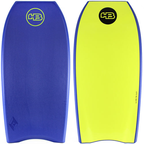 "HB Bodyboards 44"" Tech Epic PE Core Blue Lime - NEW Double Stringer Crescent Tail Blue Yellow"
