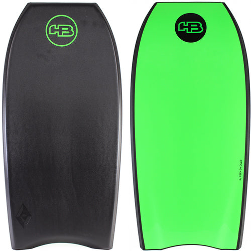 "HB Bodyboards 42"" Tech Epic PE Core - NEW Double Stringer Crescent Tail Black Lime"