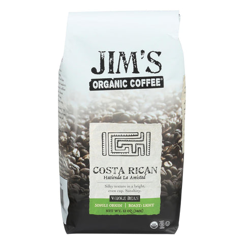 Jim's Organic Coffee - Whole Bean - Costa Rican - Case Of 6 - 12 Oz.