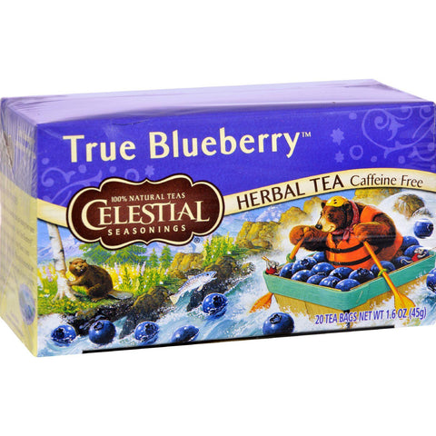 Celestial Seasonings Herbal Tea Caffeine Free True Blueberry - 20 Tea Bags - Case Of 6