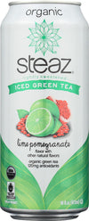 Steaz Lightly Sweetened Green Tea - Lime Pomegranate - Case Of 12 - 16 Fl Oz.