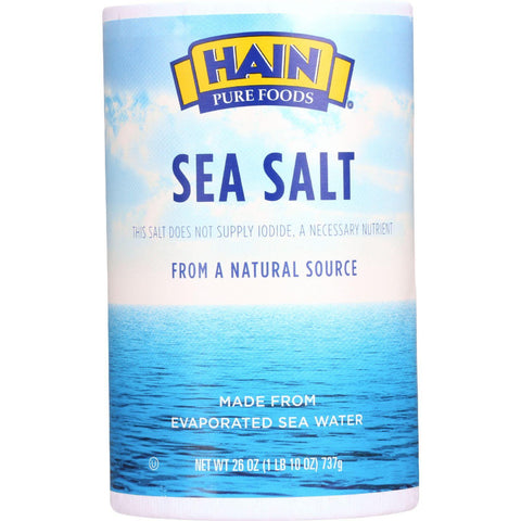 Hain Sea Salt - Plain - 26 Oz - Case Of 24