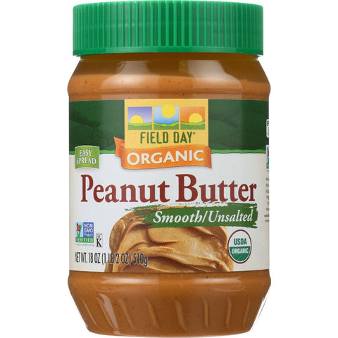 Field Day Peanut Butter - Organic - Smooth - Unsalted - 18 Oz - Case Of 12