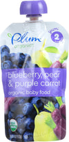 Plum Organics Baby Food - Organic - Blueberry Pear And Purple Carrots - Stage 2 - 6 Months And Up - 3.5 .oz - Case Of 6