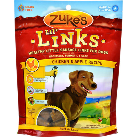 Zuke's Dog Treats - Lil Links Chicken And Apple - 6 Oz - Case Of 12