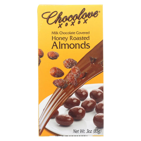 Chocolove Xoxox Milk Chocolate Bar - Honey Roasted Almonds - Case Of 6 - 3 Oz