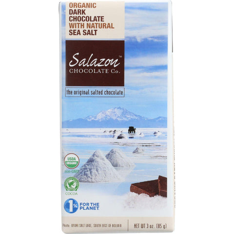 Salazon Chocolate Bar - Organic - 57 Percent Dark Chocolate - Sea Salt - 2.75 Oz - Case Of 12