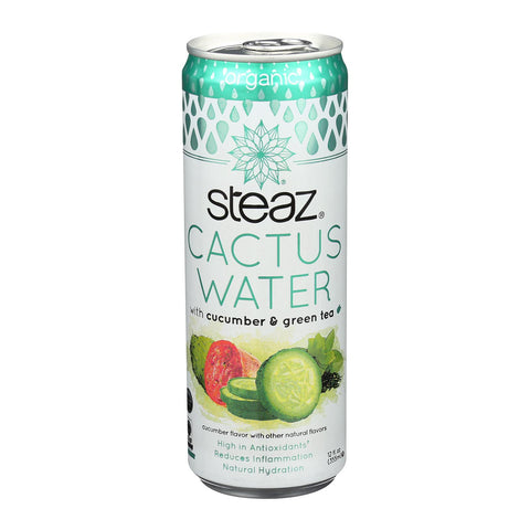 Steaz Cactus Water - Cucumber And Green Tea - Case Of 12 - 12 Oz.