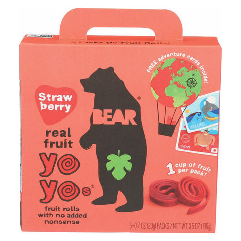 Bear Real Fruit Yoyos - Strawberry - Case Of 6 - 3.5 Oz.