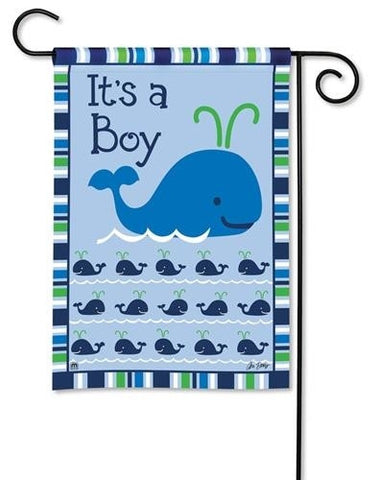 Flag- Garden Size - It's a boy - happy whale!