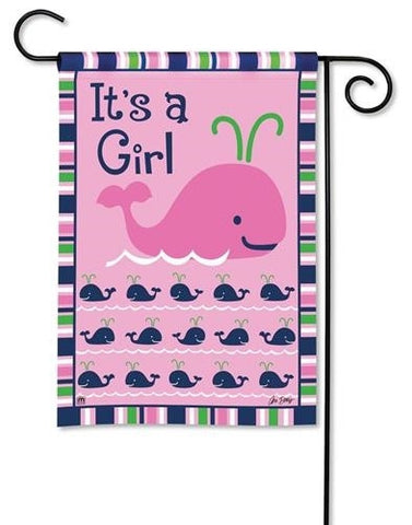 Flag- Garden Size - It's a girl - happy whale!