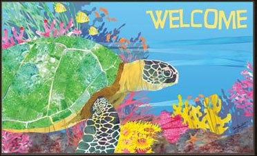 Indoor - Outdoor Floor Mat - By the sea turtle