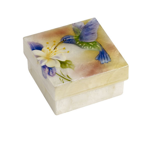 Capiz box - Hummingbird and flower