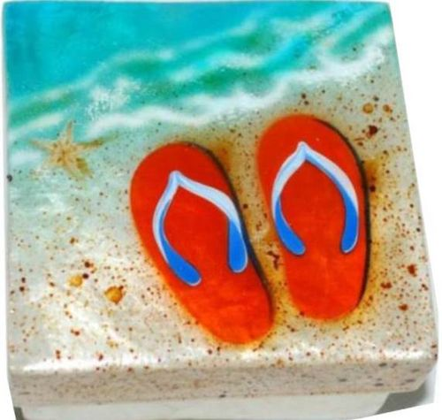 Capiz box - Orange Flip Flop