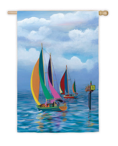 Flag- Regular Flagpole Size - Kaleidoscope Sailboats Flag