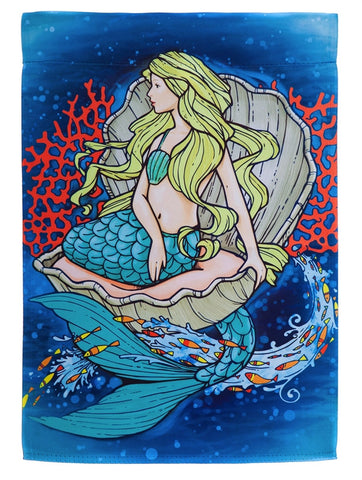 Flag- Garden Size - Mermaid in Clam Garden