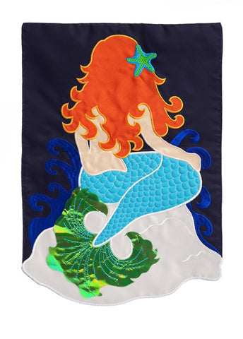 Mermaid Flag Garden Size - Applique