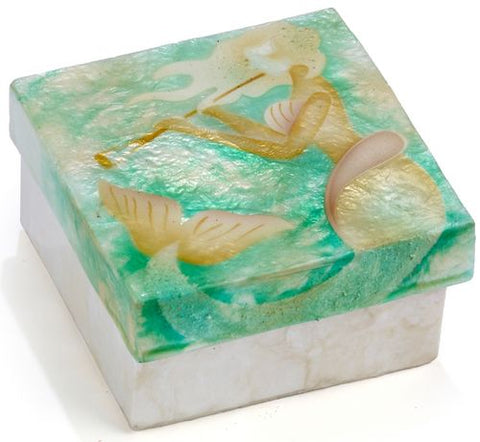 Capiz box - mermaid playing flute