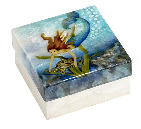 Capiz box -diving mermaid with sea turtle - medium size