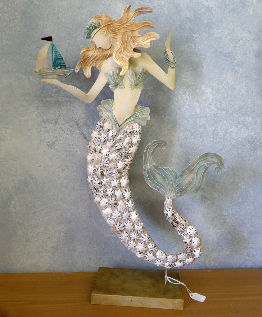 Metal and Shell Mermaid tabletop decor